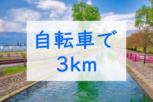 自転車で3km